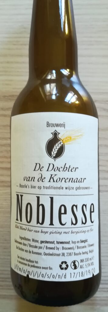 Noblesse è la belgian ale di De Dochter van de Korenaar.